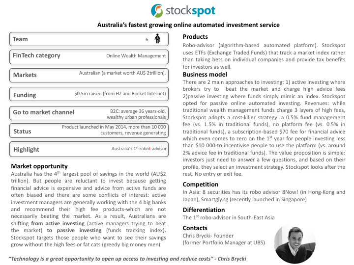 One-Pager Stockspot